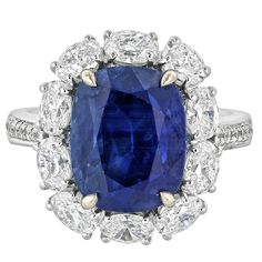 8.30 Carat No Heat Burma Sapphire Diamond Gold Cluster Ring | From a unique collection of vintage cluster rings at https://www.1stdibs.com/jewelry/rings/cluster-rings/