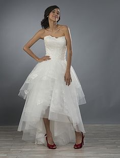 Alfred Angelo Style Hi-low hemline ball gown wedding dress in tulle and lace with a fitted strapless bodice. Another idea for reception dress. 2016 Wedding Dresses, Wedding Bridesmaid Dresses, Wedding Dress Styles, Bridal Dresses, Wedding Gowns, Reception Dresses, Wedding 2017, Tulle Wedding, Summer Wedding