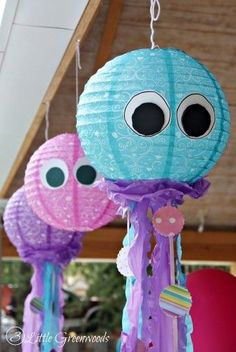Fabulously Simple DIY Lantern Jellyfish  Tutorial... Great for a Little Mermaid or Under the Sea party theme.  http://www.3littlegreenwoods.com/2014/08/27/fabulously-simple-diy-lantern-jellyfish/