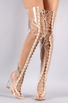 0e917e9f446 Clear Lace Up Chunky Heeled Over-The-Knee Boots - Fashdime shopfashdime.com