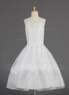 [AU$ 128.41] A-Line/Princess Tea-length Flower Girl Dress - Organza Sleeveless Scoop Neck With Lace/Beading/Sequins (010014622)