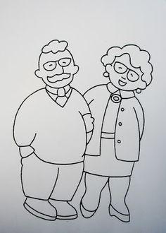 De Gigantjes van 3KB Ten Dorpe: THEMA GROOTOUDERS ~ FAMILIE ~ BEROEPEN Grandma And Grandpa, Doodle Designs, Grandparents Day, Digi Stamps, Creative Kids, Easy Drawings, Art School, Embroidery Patterns, Folk Art