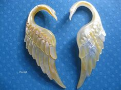 hand carved swans gauged size 6 amazing by ajmertribal on Etsy, $34.00