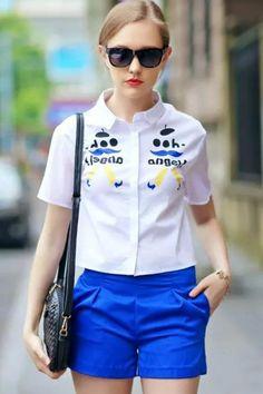 Summer Cute Graphic Print Short Sleeve Shirt - OASAP.com