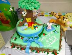 Homemade Winnie the Pooh Birthday Cake Design: This Homemade Winnie the Pooh Birthday Cake Design is my first ever fondant covered cake!  I was really worried about whether or not I could do it but