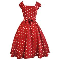 Red Wine Polka Dot Swing Dress ($56) ❤ liked on Polyvore