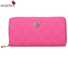 Women Wallet Clutch Bag Vintage Crown Embellishment Plaid Wallets Girls ID Card Holder Purse Phone Case Money Bag Femininas