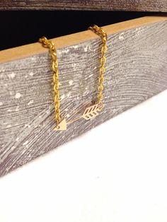 Arrow Necklace Sideways Arrow Necklace Arrow Jewelry  by Barysto