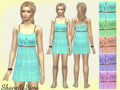 The Sims Resource: Belted Ruffle Dress by shanelle.sims • Sims 4 Downloads