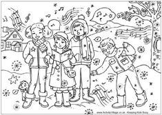 Print and enjoy this lovely detailed Christmas colouring page of a group of children singing Christmas carols! Free Christmas Coloring Pages, Christmas Coloring Sheets, Heart Coloring Pages, Cute Coloring Pages, Colouring Pics, Coloring Pages To Print, Coloring Pages For Kids, Coloring Books, Colouring Sheets