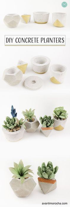 DIY Concrete Planters - Planters - Ideas of Planters - DIY Concrete Planters Macetas de Concreto / Wedding Favors / Home-decor Concrete Crafts, Concrete Projects, Concrete Design, Diy Concrete Planters, Diy Planters, Planter Boxes, Easy Home Decor, Handmade Home Decor, Beton Diy