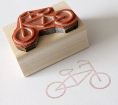 cute bicycle wooden rubber stamp by eatpraycreate on Etsy