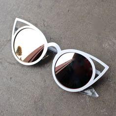 luna australia - alice white cat eye sunglasses with rose gold mirror lens