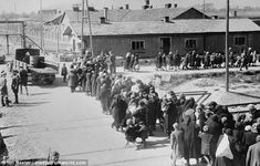 Jewish women and children, who have been selected for death, walk in a line towards the gas chambers at Auschwitz-Birkenau