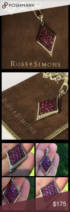 """Ross Simons Pink Sapphire Necklace This necklace is gorgeous! The photos tell all. It is set in Sterling silver and has beautiful hot pink Sapphires on a triangular shaped pendant. It hangs beautifully on a 17.5"""" Sterling Silver generic chain. The pendant is fully hallmarked and is NWOT Ross Simons Jewelry Necklaces"""