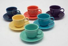 shopgoodwill.com: Collection of 6 HLC Fiesta Coffee Cups -prefer red, green and yellow only