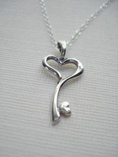 Key To My Heart Necklace In Sterling Silver by AnechkasJewelry, $25.50