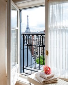At @Four Seasons Hotel George V Paris, your bubble bath comes with an Eiffle Tower view.