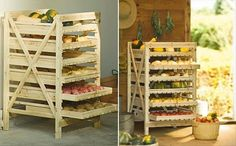 Garden harvest food storage using wood pallets as sliding shelves