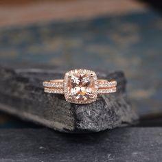 Morganite Engagement Ring Bridal Set Rose Gold Cushion Cut Ring Halo Diamond Eternity Wedding Band Anniversary Gift For Her Women 2Pcs by SzekiStudio on Etsy https://www.etsy.com/listing/526687158/morganite-engagement-ring-bridal-set