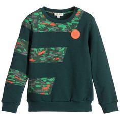 Kenzo Boys Green Camouflage Sweatshirt  at Childrensalon.com
