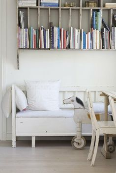 chaise and books