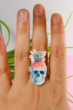 pinapple Skull ring by CaramelaHandmade on Etsy