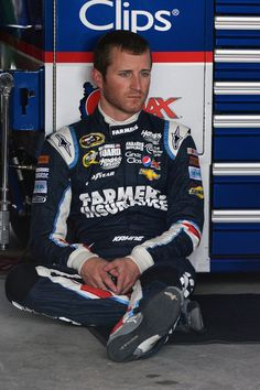 Kasey Kahne Kasey Kahne, driver of the #5 Farmers Insurance Chevrolet, sits in the garage area during practice for the NASCAR Sprint Cup Ser...