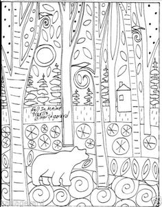 Rug Hooking Paper Pattern Fall in Maine Folk Art Abstract Primitive Karla G | eBay