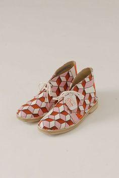 Eley Kishimoto / Clarks SS13 Orange Cuteboys Desert Boots (geometric print fabric in orange and pink)*