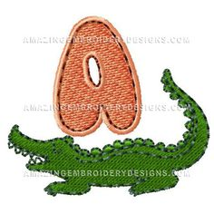 "This free embroidery design from Amazing Embroidery Designs is the ""Alligator A""."