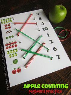 Apple Counting Pegboard Pre-k math Motor Skills Activities, Montessori Activities, Math Classroom, Kindergarten Math, Toddler Activities, Learning Activities, Preschool Activities, Play Based Learning, Pegboard Craft Room