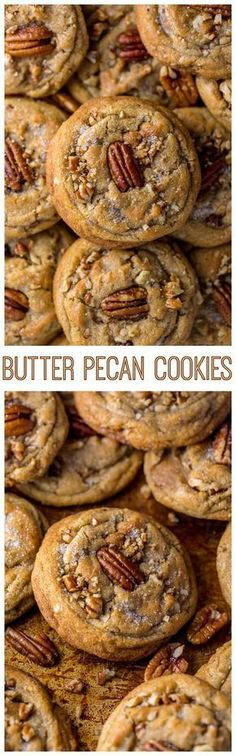Thick chewy and insanely delicious Butter Pecan Cookies! And they're freezer friendly too! Thick chewy and insanely delicious Butter Pecan Cookies! And they're freezer friendly too! Just Desserts, Cookie Desserts, Cookie Recipes, Dessert Recipes, Gourmet Cookies, Pecan Recipes, Baking Cookies, Cookie Favors, Gourmet Foods