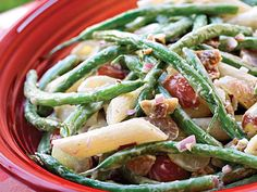Green Bean, Grape, and Pasta Toss | If you're a broccoli salad fan, you'll love the combination of these colorful ingredients. Cook the pasta al dente, so it's firm enough to hold its own when tossed with the tangy-sweet salad dressing.