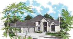 Well designed 4 bedroom Southwestern style home.  Southwestern House Plan # 441254.