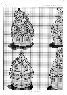 Cupcake Cross Stitch, Xmas Cross Stitch, Cross Stitching, Cross Stitch Designs, Cross Stitch Patterns, Stitching Patterns, Christmas Cross, Christmas Ornaments, Lany