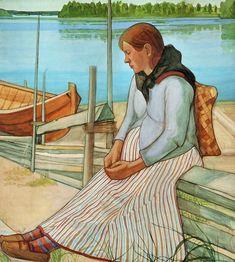 Juho Rissanen Rannalla istuva nainen / Woman sitting on the Beach, 1898 - Finland Nordic Lights, Nordic Art, Canadian Art, Art For Art Sake, Beach Scenes, Painting Inspiration, Female Art, Polar Bear, Les Oeuvres
