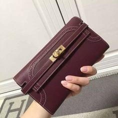 Free Shipping!2016 Hermes Outlet With Free Shipping-Hermes Kelly Clutch in Burgundy Lace Swift Leather Gold with White Stitching