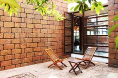 Indian Courtyard, tropical living, laterite stone walls, Vrindavan, by unTAG