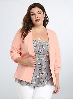 "<p>The desk-duty staple - the blazer - gets a much needed upgrade. This cutaway open front design flatters any figure, while the apricot hue and ruched sleeves make you the star of any office gossip (the good kind). Faux welt pockets finish off the look.</p>  <p> </p>  <p><b>Model is 5'9"", size 1</b></p>  <ul> 	<li>Size 1 measures 27 5/8"" from shoulder</li> 	<li>Polyester/rayon/spandex</li> 	<li>Wash cold, dry low</li> 	<li>Imported plus size blazer</li> </ul>"