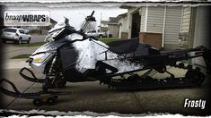 Frosty snowmobile wrap in black white!