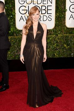 Golden Globes 2015 Red Carpet Fashion: Jessica Chastain in Versace