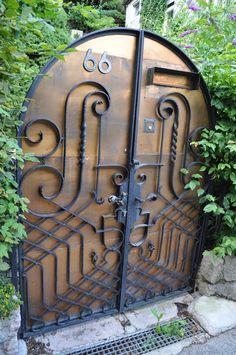 Beautiful Wooden Door with wrought iron doors Cool Doors, Unique Doors, The Doors, Windows And Doors, Door Entryway, Entrance Doors, Doorway, When One Door Closes, Door Gate