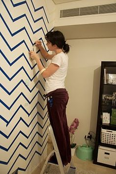 A lot of painters tape. A lot of patience. Anyway, could we be done with chevron as a trend? kinda tired of it/never liked it to begin with.