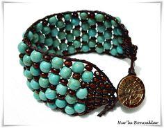 DIY Kahve Turkuaz Bileklik / DIY Brown Turquoise Bracelet