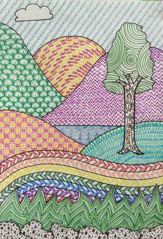 Draw art drawings for kids, kids art class y landscape art. Art Drawings For Kids, Drawing For Kids, Drawing Art, Children Drawing, Kids Art Class, Art For Kids, Landscape Art Lessons, Line Art Projects, 3rd Grade Art