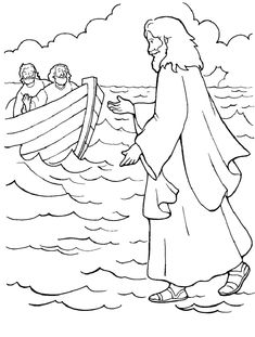 Jesus Bible Coloring Sheet 8....next time you think you're perfect try walking on water!!!