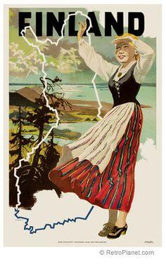 Vintage travel poster - FINLAND.