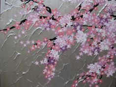 pink cherry blossom tree trees with bird large painting abstract art zen asian gray grey silver pink purple white Japanese Japan. $100.00, via Etsy.