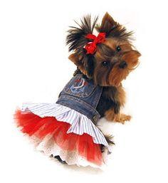 Dog Clothing- Denim Dog Dress With Red